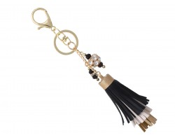 Black Gold Faux Leather Tassel Gold Key Chain