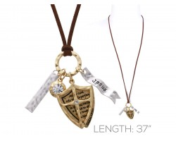 Gold Brown Leather Psalms 18:30 Shield Necklace