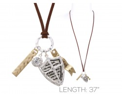 Silver Brown Leather Psalms 18:30 Shield Necklace