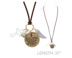 Gold Exodus 15:2 Wings Cross Brown Leather Necklace
