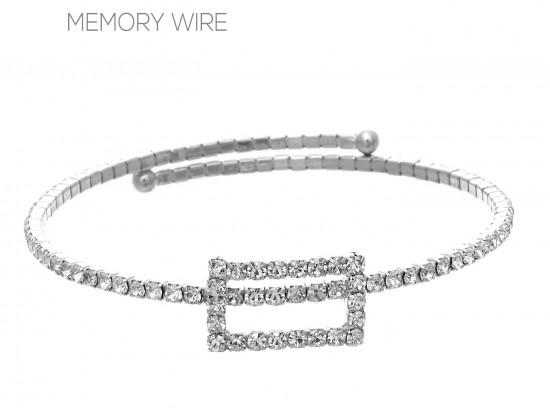 Silver Clear Rectangle Memory Bracelet