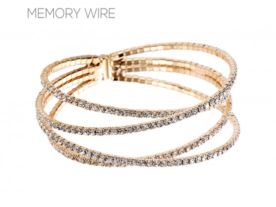Gold Clear 4-Line Crystal Memory Bracelet