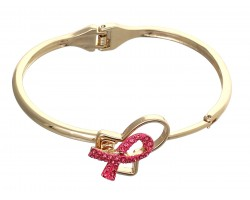 Gold Hinged Pink Cancer Ribbon Bracelet