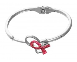 Silver Hinged Pink Cancer Ribbon Bracelet