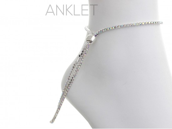Silver 2mm AB Crystal Adjustable Anklet
