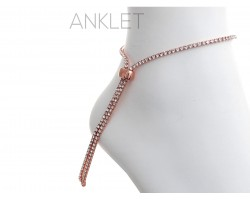 Rose Gold 2mm Crystal Adjustable Anklet