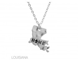 Silver Matte Home Louisiana State Map Necklace