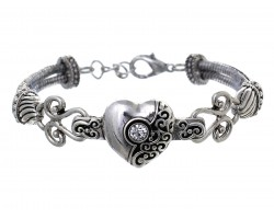 Silver Heart Filigree Rope Bracelet