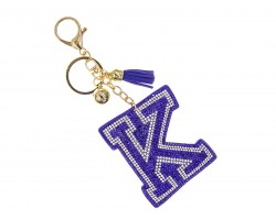 Blue K Crystal Puffy Tassel Key Chain