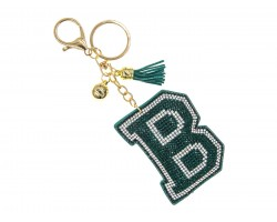 Green B Crystal Puffy Tassel Key Chain