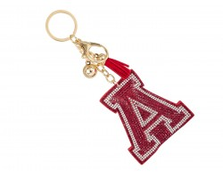 Red A Crystal Puffy Tassel Key Chain