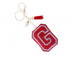 Red G Crystal Puffy Tassel Key Chain