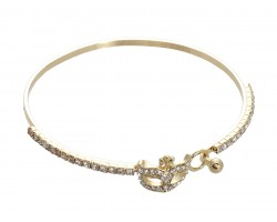 Gold Crystal Mardi Gras Mask Memory Wire Bracelet