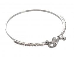 Silver Crystal Mardi Gras Mask Memory Wire Bracelet