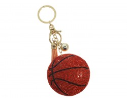Gold Crystal Basketball Puffy Keychain