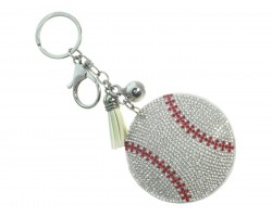 Silver Crystal Baseball Puffy Keychain