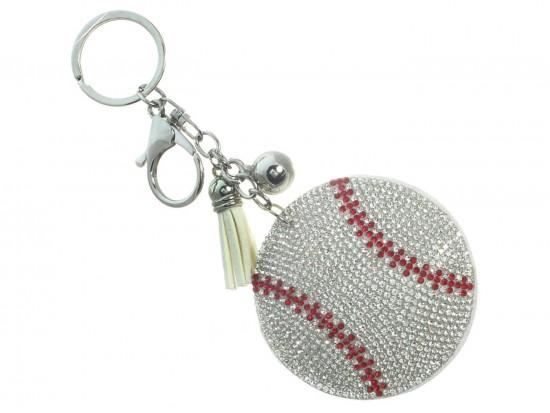 Silver Crystal Baseball Puffy Keychain