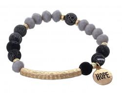 Black Stone Bead Gold Hope Bar Stretch Bracelet
