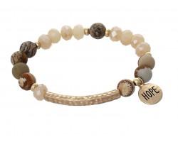 Brown Stone Bead Gold Hope Bar Stretch Bracelet