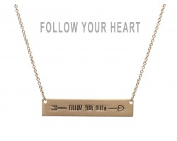 Gold Follow Your Heart Bar Message Necklace
