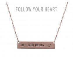 Rose Gold Follow Your Heart Bar Message Necklace