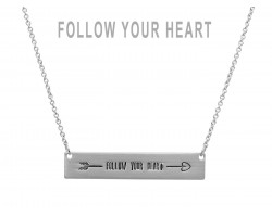 Silver Follow Your Heart Bar Message Necklace