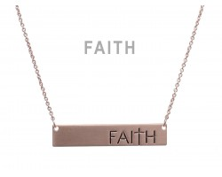 Rose Gold Faith Bar Message Necklace