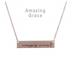 Rose Gold Amazing Grace Bar Message Necklace