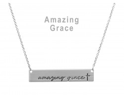 Silver Amazing Grace Bar Message Necklace