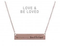 Rose Gold Love & Be Loved Bar Message Necklace