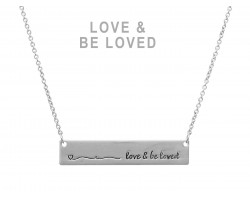 Silver Love & Be Loved Bar Message Necklace