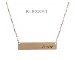 Gold Blessed Bar Message Necklace