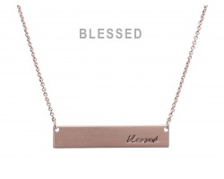 Rose Gold Blessed Bar Message Necklace