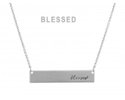 Silver Blessed Bar Message Necklace