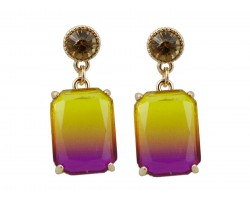 Brown Gradation Rectangle Gold Dangle Post Earring