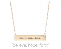 Gold Believe Hope Faith Bar Message Necklace