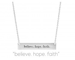 Silver Believe Hope Faith Bar Message Necklace