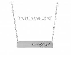 Silver Trust in the Lord Bar Message Necklace