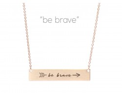 Gold Be Brave Arrow Bar Message Necklace