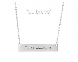 Silver Be Brave Arrow Bar Message Necklace