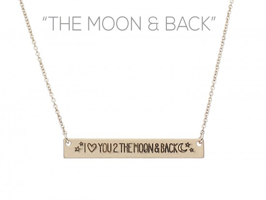 Gold Love to the Moon Bar Message Necklace