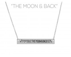 Silver Love to the Moon Bar Message Necklace