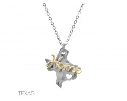 Silver Texas Home State Map Necklace