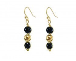 Black Gold 3 Pearlized Bead Wrap Hook Earrings
