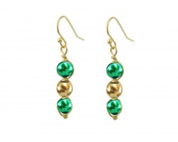 Green Gold 3 Pearlized Bead Wrap Gold Hook Earrings