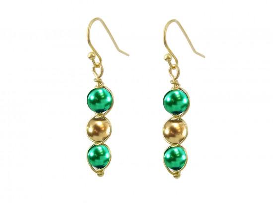 Green Gold 3 Pearlized Bead Wrap Gold Hook Earrings