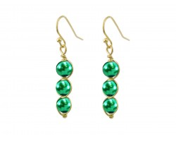 Green 3 Pearlized Bead Wrap Gold Hook Earrings