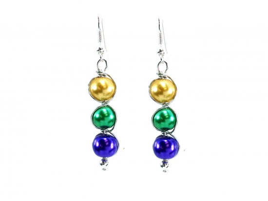 Mardi Gras 3 Pearlized Bead Wrap Hook Earrings