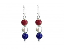 Red White Blue 3 Pearlized Bead Wrap Hook Earrings