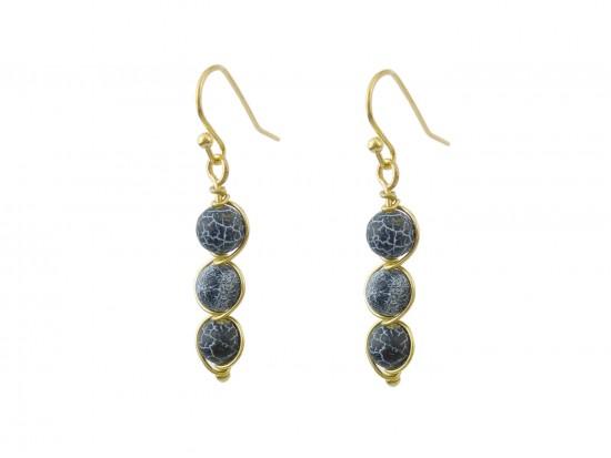 Black 3 Natural Stone Hook Earrings